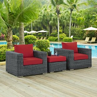 Alaia 3 Piece Rattan Sunbrella 2 Person Seating Group with Cushions