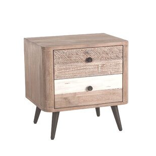 Alfaro Acacia Wood 2 Drawer Nightstand