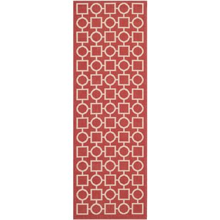 Best Choices Jefferson Place Red/Bone Outdoor Area Rug By Wrought Studio