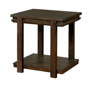 Halstead Rough-Sawn Wooden End Table by World Menagerie