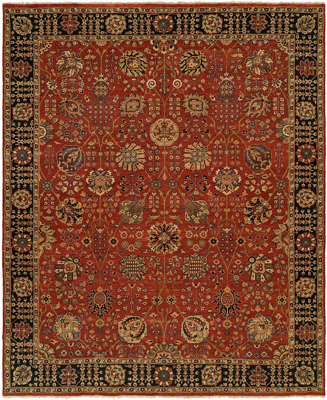 Hand Knotted Wool Rust Black Area Rug