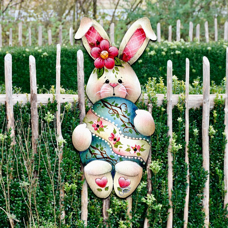 WOOD WHITE BUNNY /& EGG ON A PINK EASTER TIME HANGING SIGN SPRING DECORATION