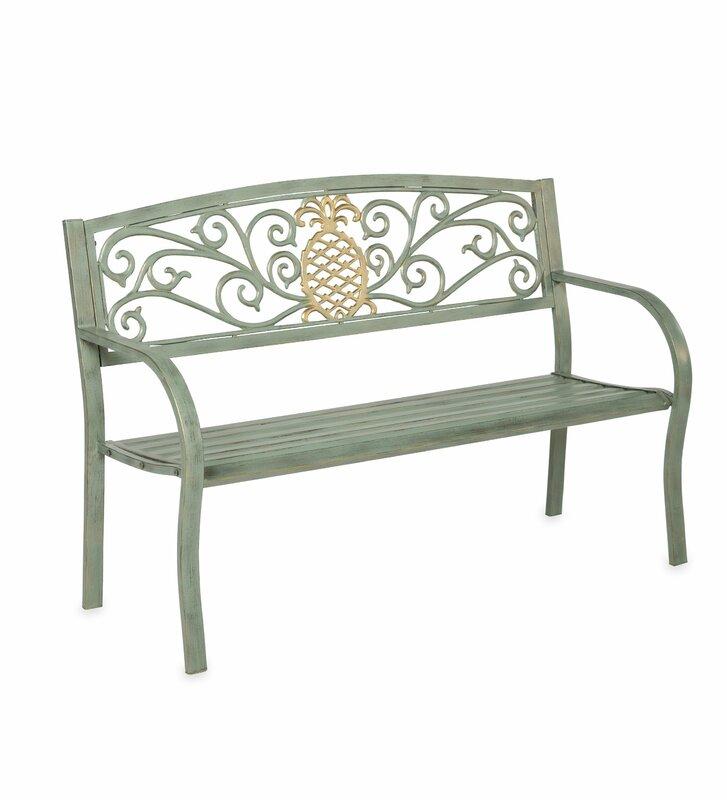 Pineapple Metal Garden Bench