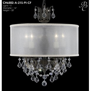 American Brass & Crystal Llydia 5-Light C..