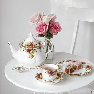 Vintage 11 piece PorcelainTea Set Red Scrolled Rim Child/'s Pink Rose