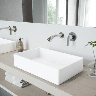 Magnolia Stone Rectangular Vessel Bathroom Sink with Faucet VIGO