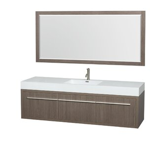 Best Axa 72 Single Gray Oak Bathroom Vanity Set with Mirror By Wyndham Collection