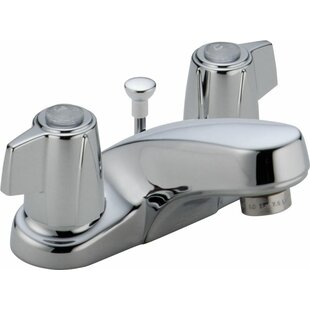 Reviews Classic Centerset Bathroom Faucet with Metal Blade Handles and Metal Pop-Up Drain By Delta