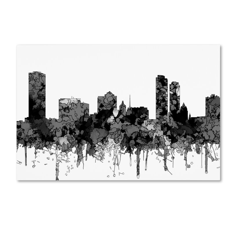 trademark art milwaukee wisconsin skyline bw graphic art print on