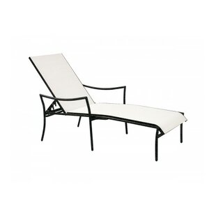 Woodard Dominica Sling Reclining Stacking Chaise Lounge