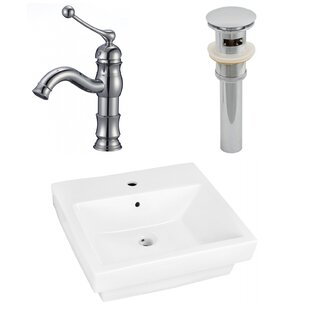 Order Ceramic Rectangular Vessel Bathroom Sink with Faucet and Overflow By American Imaginations