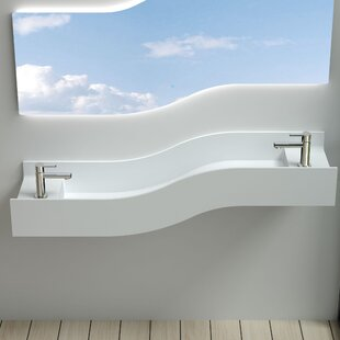 Compare & Buy Left Wave Stone 55 Wall Mount Bathroom Sink By InFurniture