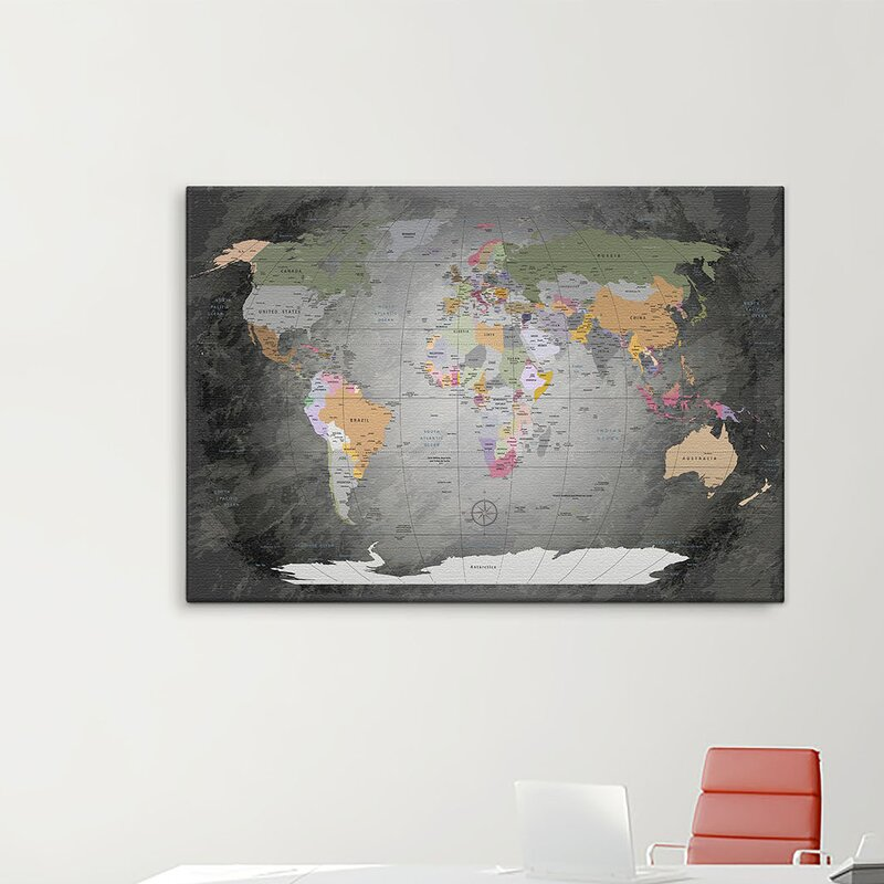 Lanakk world map framed graphic art print poster in grey world map framed graphic art print poster in grey gumiabroncs Choice Image