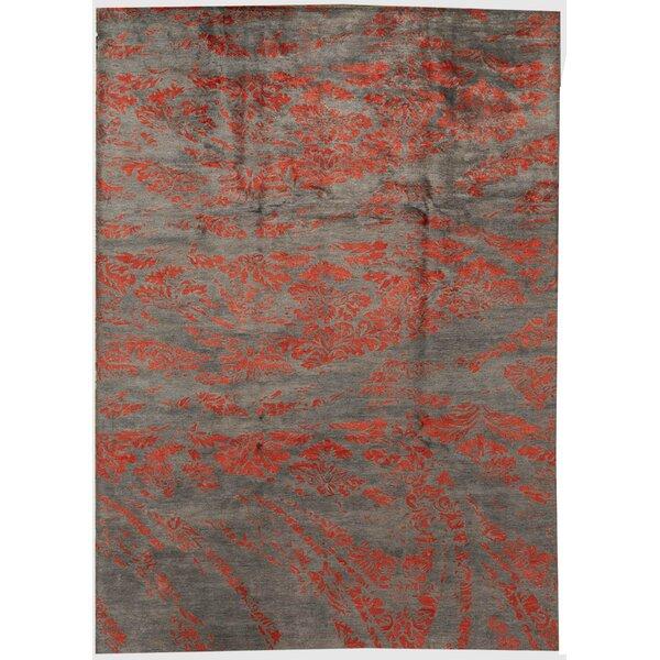 Bokara Rug Co Inc Trenton Abstract Hand Knotted Gray Red Area Rug Wayfair
