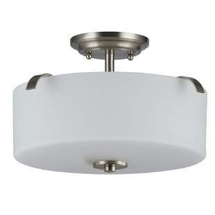 Sakar Glass 3-Light Semi Flush Mount by Ebern Designs