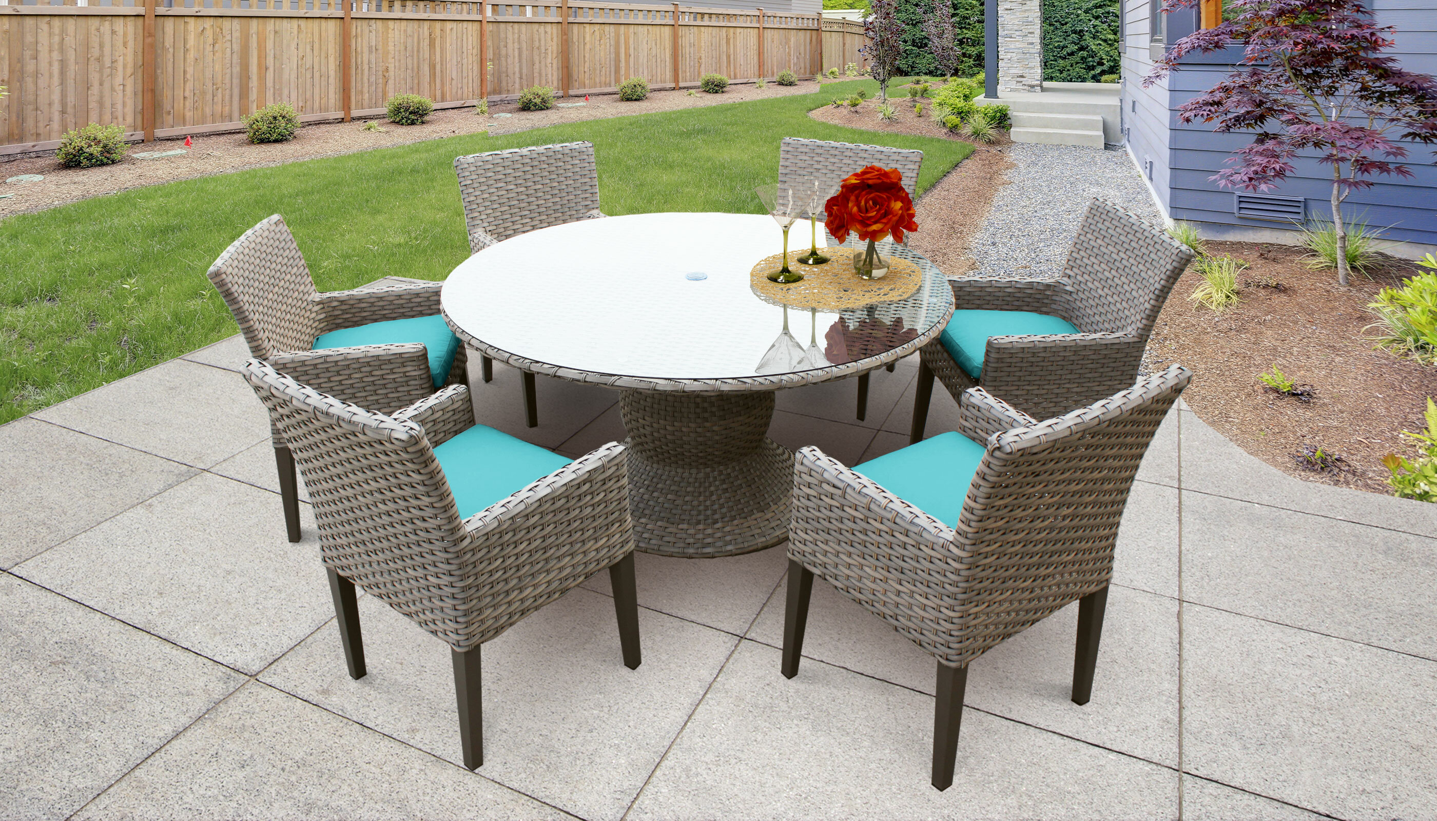 Sol 72 Outdoor Rockport 7 Piece Dining Set With Cushions Reviews Wayfair Ca