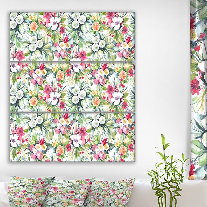 'Mint bouquet of Flowers in White Red and Yellow' Oil Painting Print  Multi-Piece Image on Canvas