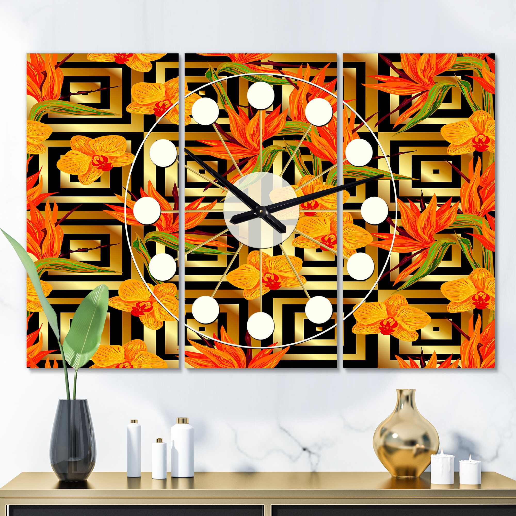 East Urban Home Oversized Tropical Luxury Iii Mid Century Wall Clock Wayfair