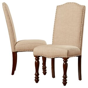 Upholstered Chairs Dining Room bernhardt belgian oak 5pc round dining room set with button tufted upholstered chairs in french truffle Chantal Side Chair Set Of 2