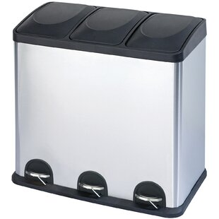 Step N Sort Stainless Steel 3-Compartment 16 Gallon Trash Can