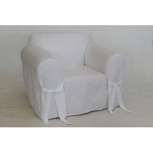 Twill Box One Piece Cushion Chair Slipcover