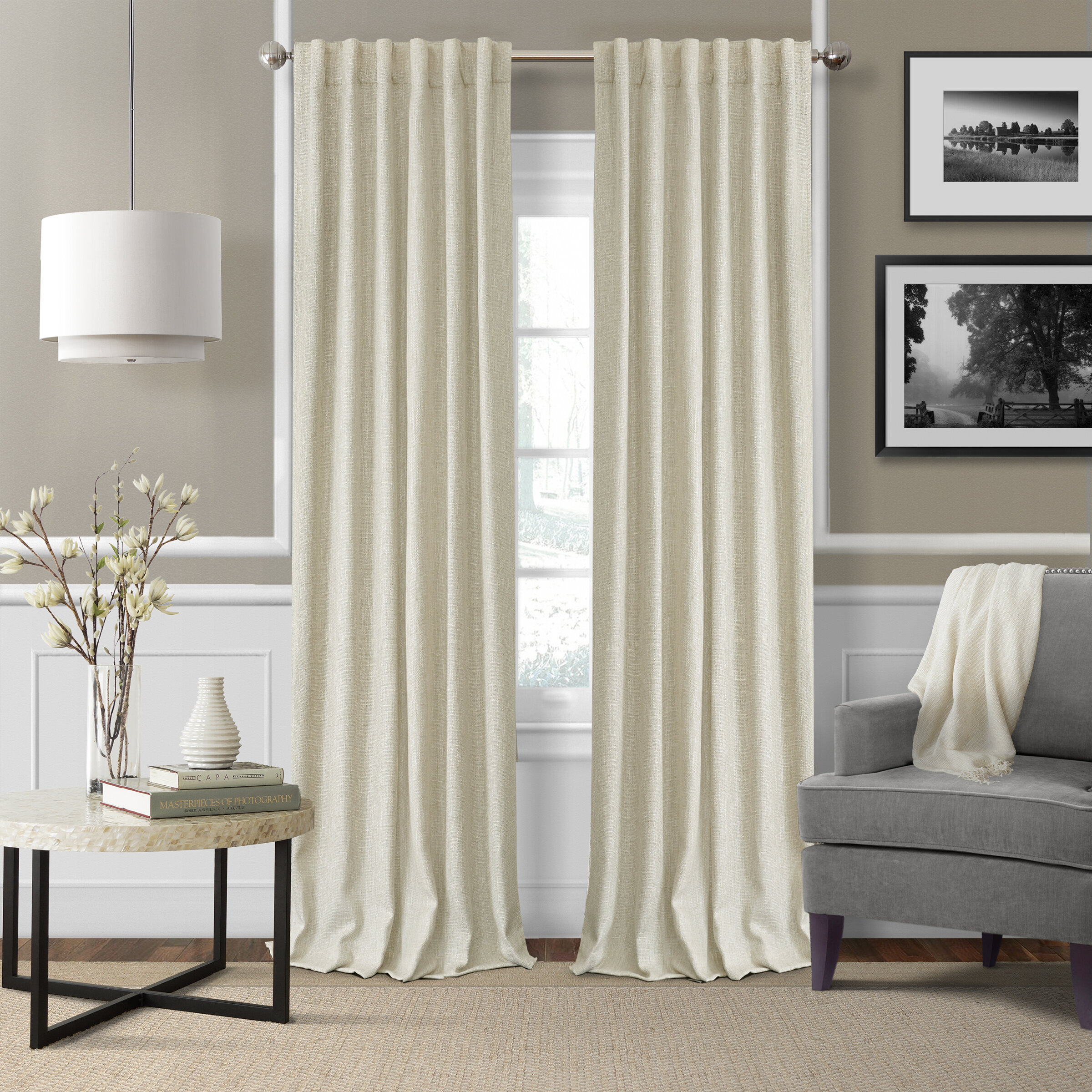 panel linen shipping product curtains home curtain blackout garden window skyline overstock free today