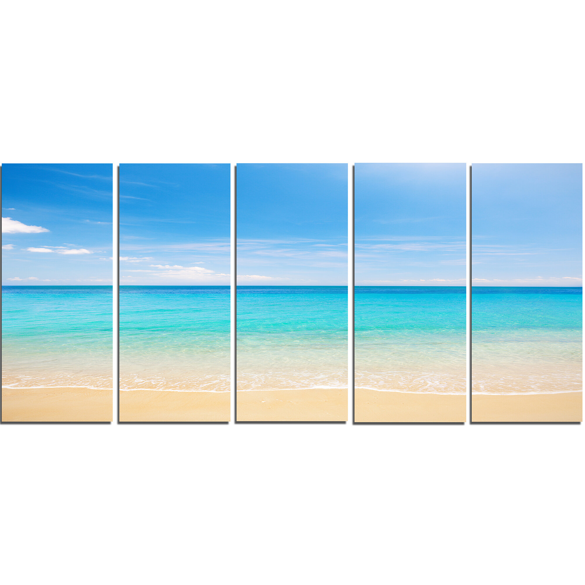 Designart Bright Blue Tropical Beach 5 Piece Wall Art On Wrapped Canvas Set Wayfair