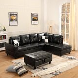 Carnelius 103.5'' Faux Leather Sofa & Chaise with Ottoman by Latitude Run®