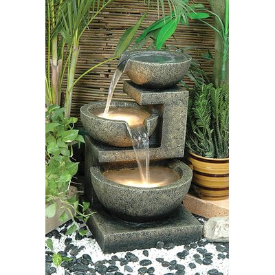 Resin Rocca Outdoor Tiered Fountain with Light Alfresco Home