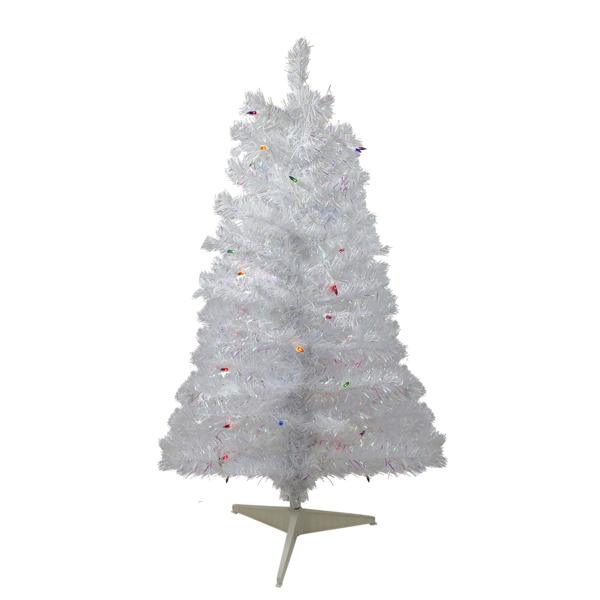 Northlight Iridescent 3 White Pine Artificial Christmas Tree With 50 Multi Colored Lights Wayfair