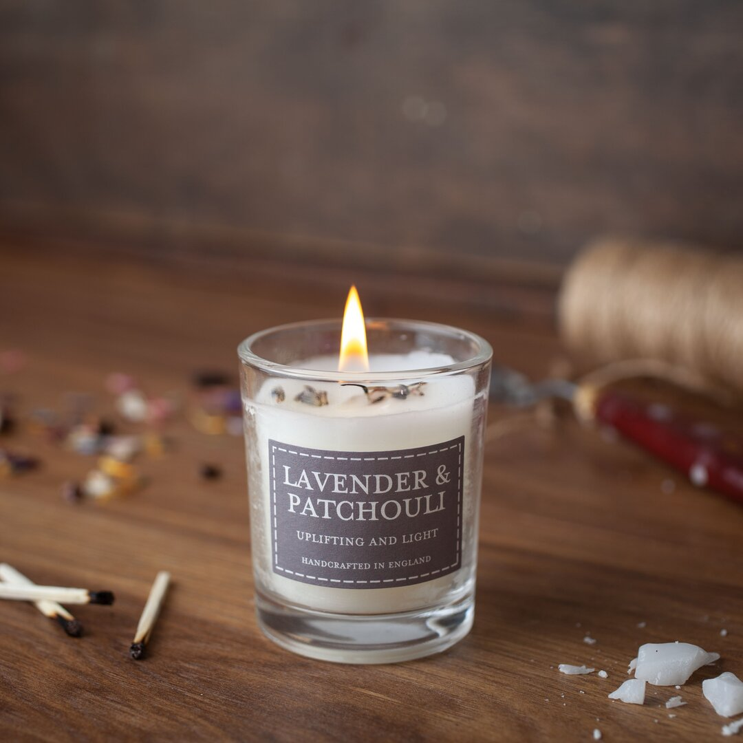 Lavender and Patchouli Scented Jar Candle