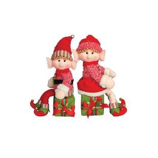 d7e5ca8cce9e5 2 Piece Elf on a Box Stuffed Holiday Accent Set