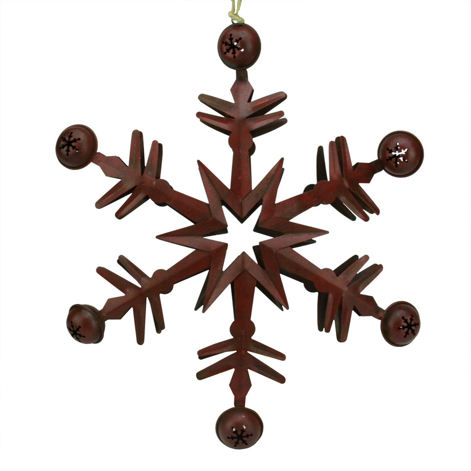 Tori Home Country Cabin 6 Point Metal Christmas Star Ornament With Jingle Bells Wayfair