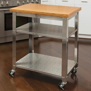 Irene Kitchen Work Table Kitchen Cart With Bamboo Top