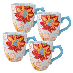 Ostlund 14 Oz. Mug Set Hawaiian Floral Set (Set Of 4) by Bungalow Rose Comparison