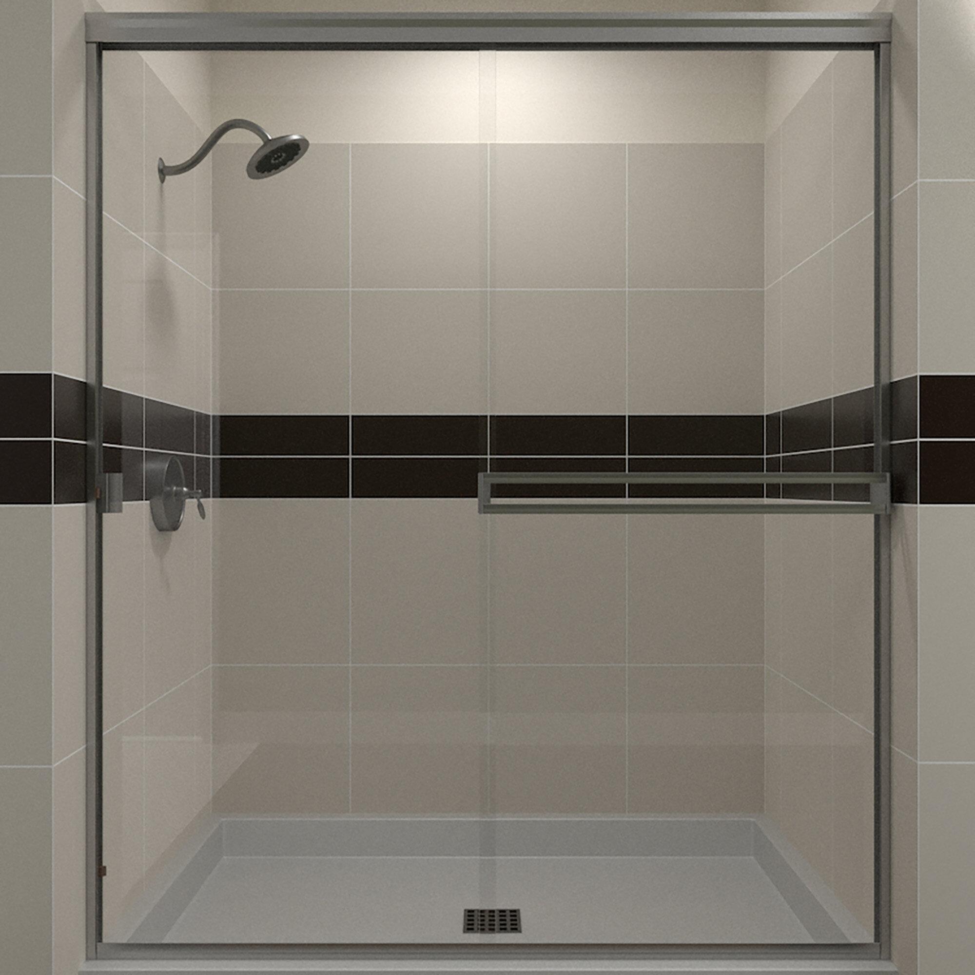 58 X 65 Bypass Semi Frameless Shower Door
