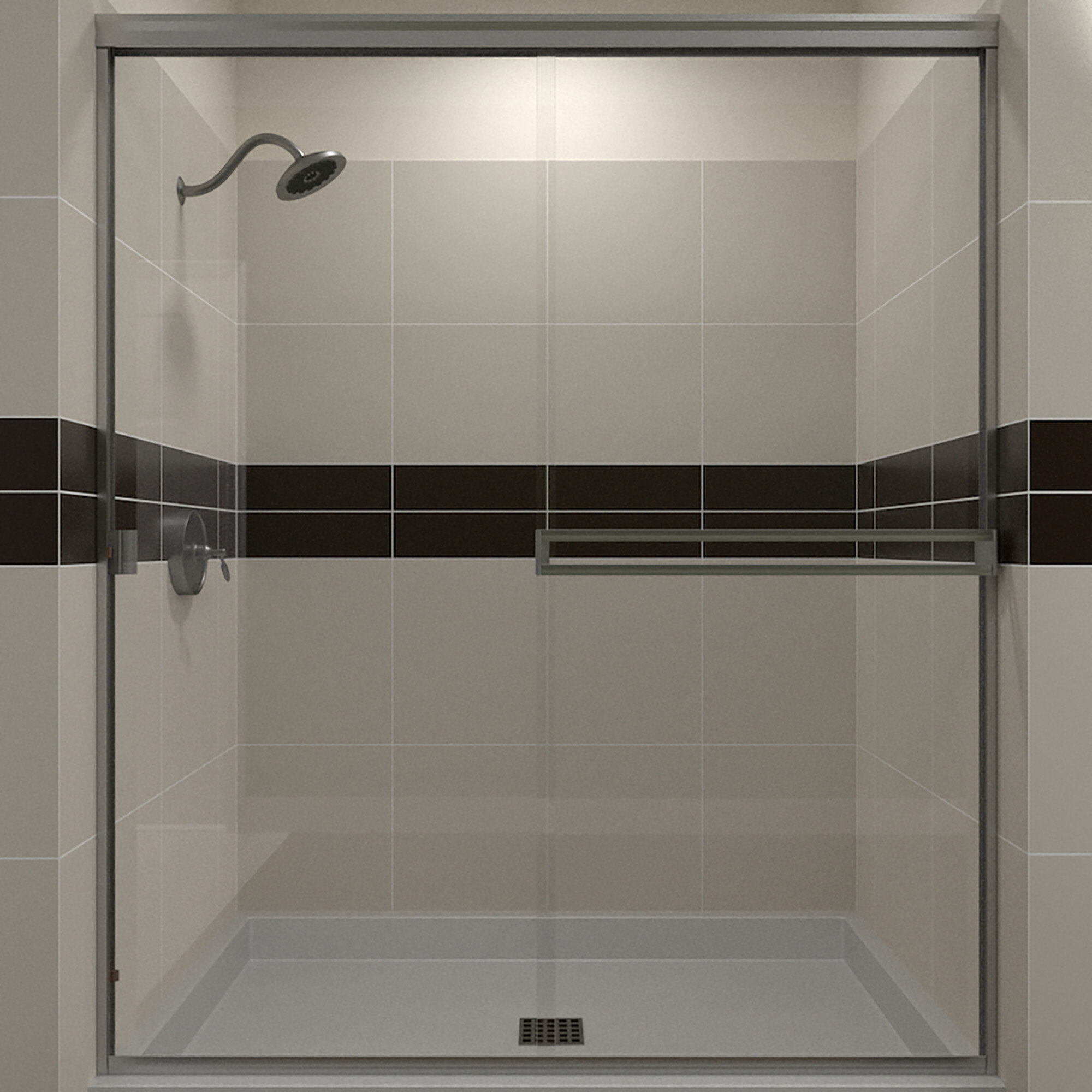 66 X 70 Bypass Semi Frameless Shower Door