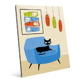 'Retro Cat in Chair' Graphic Art Print on Glass