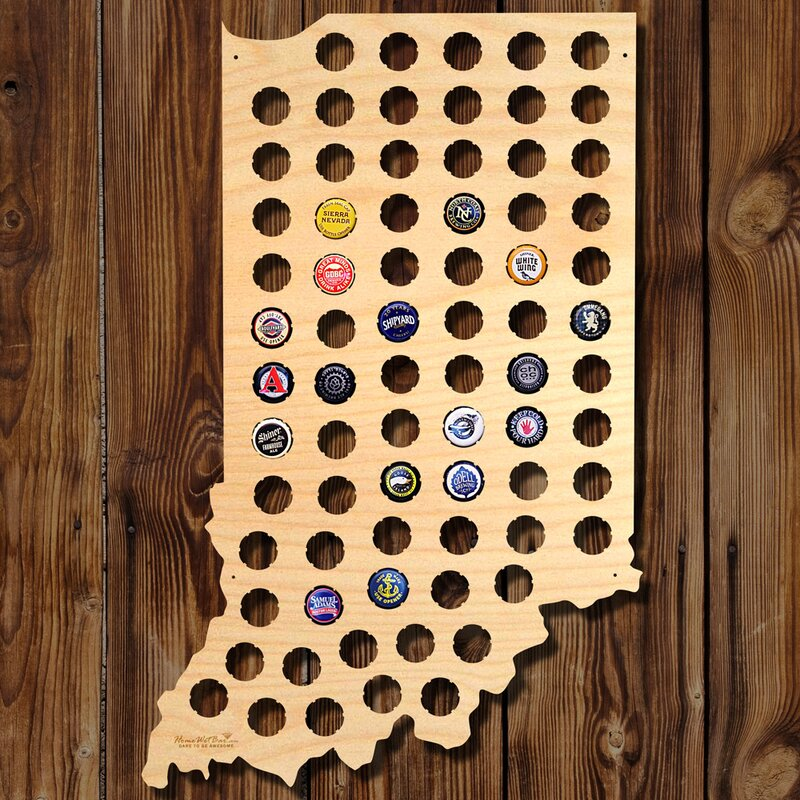 Home Wet Bar Indiana Beer Cap Map Wall Décor Wayfair - Indiana beer cap map