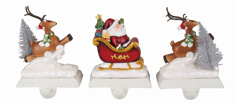 Santa and Reindeer 3 Piece Stocking Holder Set