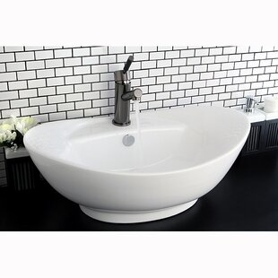 Harmon Glass Oval Vessel Bathroom Sink with Overflow