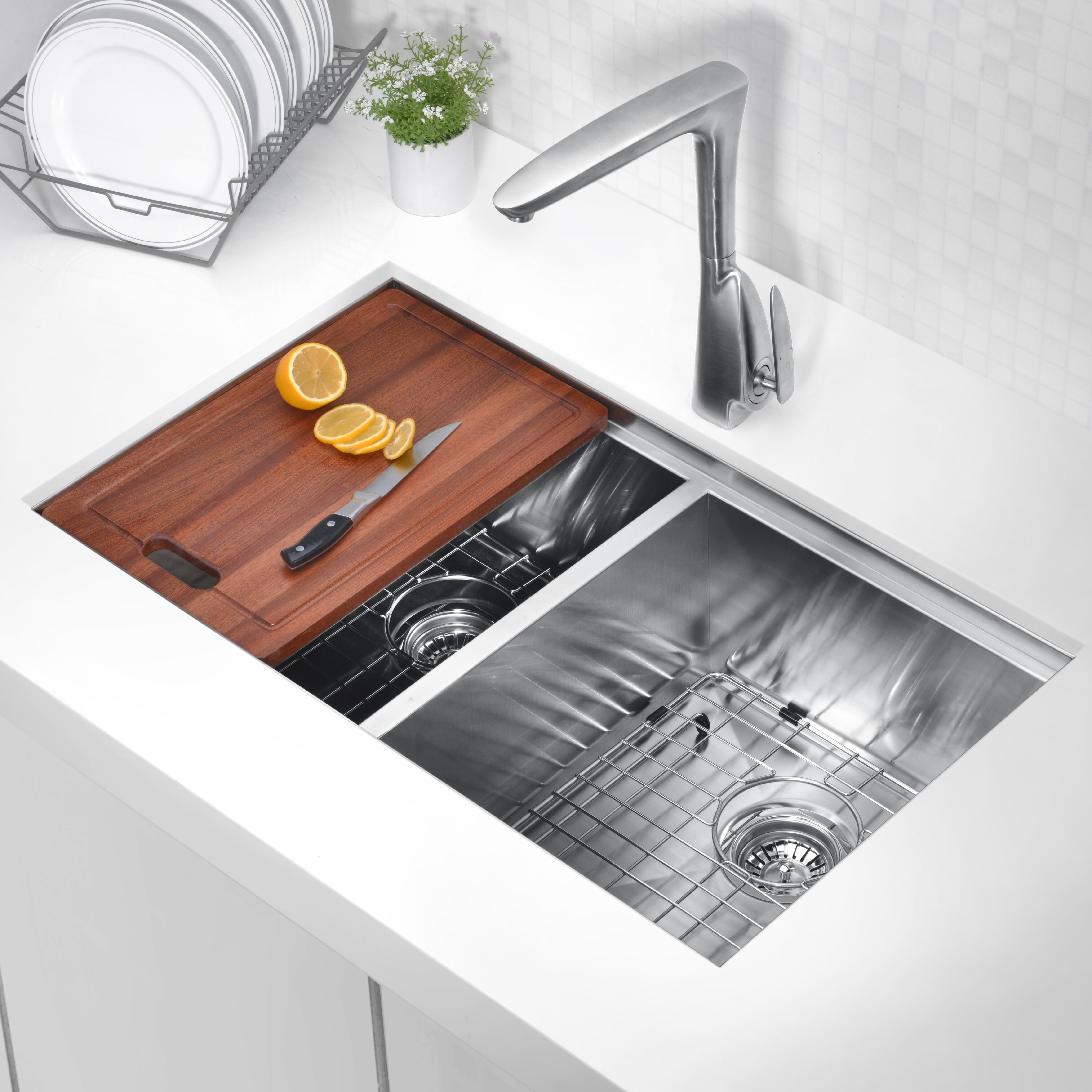 Anzzi Aegis 33 L X 19 W Double Basin Undermount Kitchen Sink With Cutting Board And Colander Wayfair