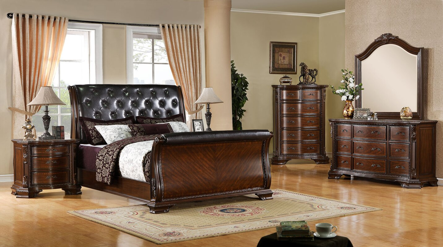 Canora Grey Leanne Upholstered Sleigh Configurable Bedroom Set