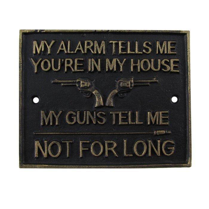 Funny Metal Gun Security Sign Home Alarm 2nd Amendment Man Cave Garage Wall Decor