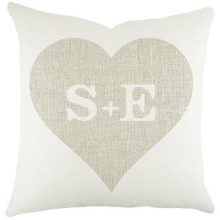 Monograms Heart Cotton Throw Pillow