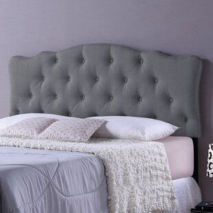 Whidden Gray Scalloped Queen Upholstered Panel Headboard