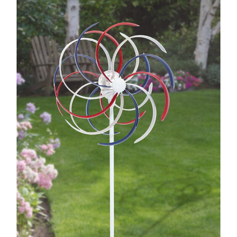 Sola Patriotic Dual Kinetic Windmill Garden Stake