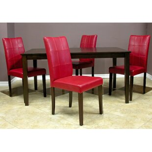 Evellen 5 Piece Solid Wood Dining Set (Set of 5) Warehouse of Tiffany