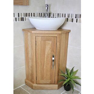 Superbe Asenath Solid Oak 390mm Corner Vanity Unit. By Belfry Bathroom