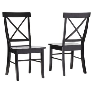 Sawyer Cross Back Solid Wood Dining Chair (Set of 2) by August Grove